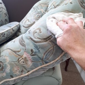 Removing moisture from the cleaned items using a cotton towel to reduce the drying time