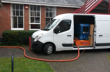 Our truck mounted carpet cleaning system cleaning the carpets at a community centre